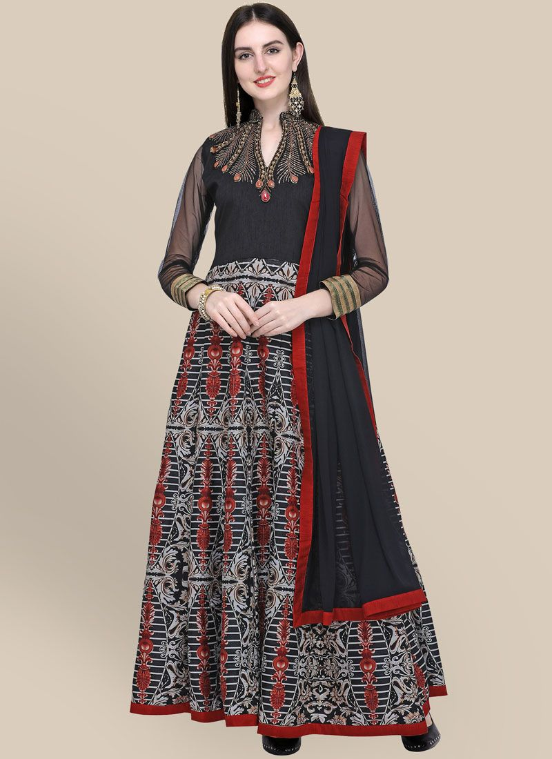 Resham Art Silk Anarkali Salwar Suit