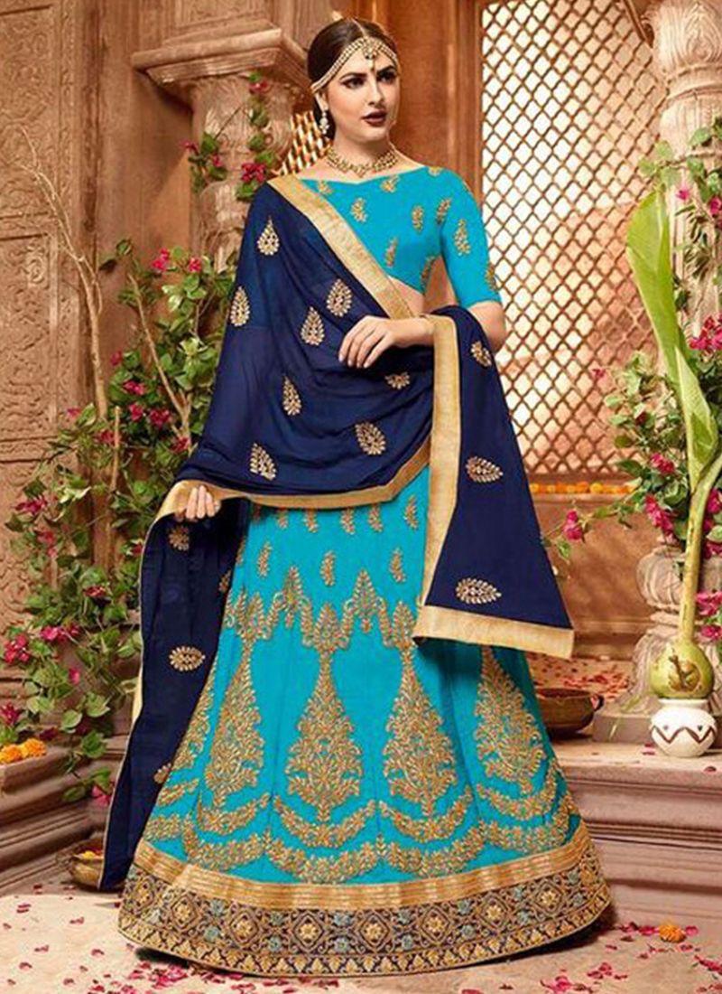 Resham Art Silk Blue Lehenga Choli