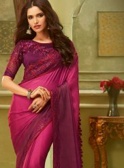 Resham Art Silk Classic Saree in Hot Pink