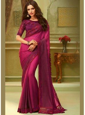 Resham Art Silk Classic Saree in Hot Pink