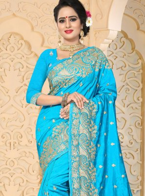 Resham Art Silk Designer Traditional Saree in Firozi