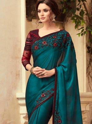 Resham Art Silk Designer Traditional Saree in Green