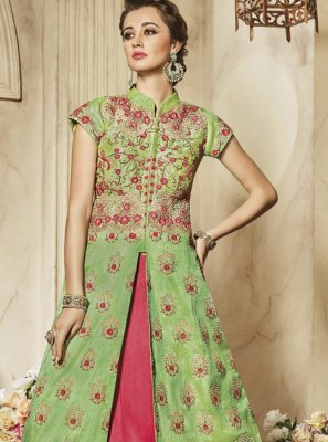 Resham Art Silk Lehenga Choli in Hot Pink and Sea Green