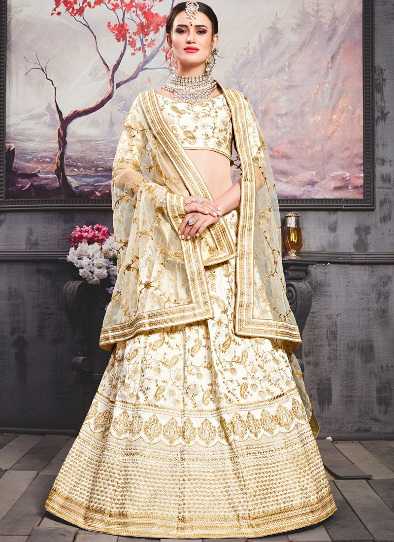Resham Art Silk Lehenga Choli in White