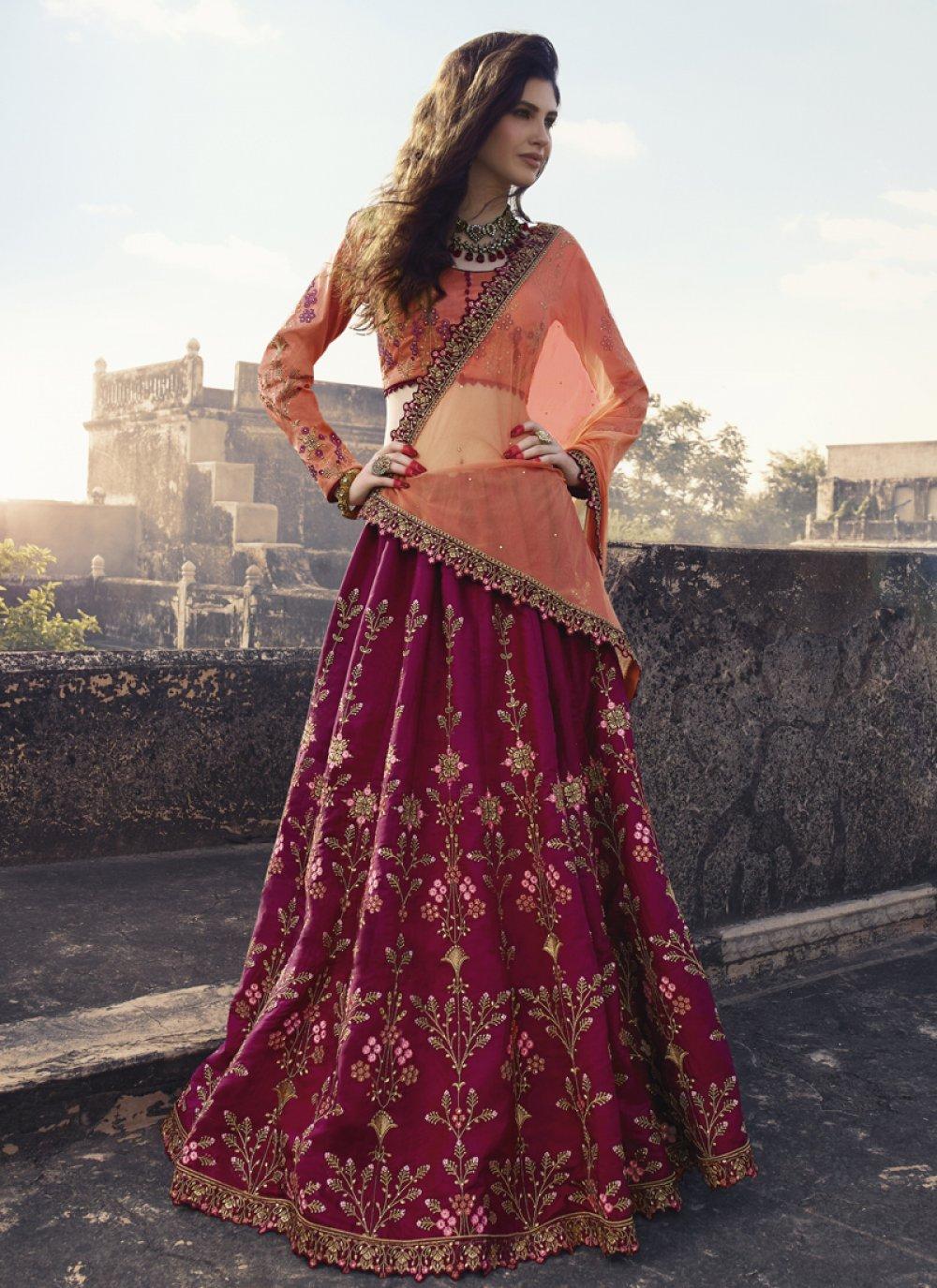 Resham Art Silk Maroon Trendy Lehenga Choli