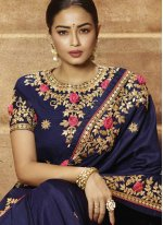 Resham Art Silk Navy Blue Classic Saree