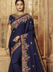 Resham Art Silk Navy Blue Classic Saree