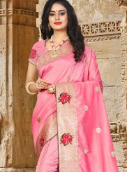 Resham Art Silk Pink Traditional Designer Saree