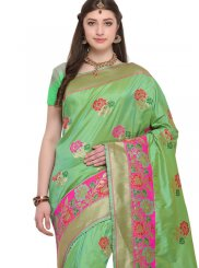 Resham Banarasi Silk Silk Saree in Green