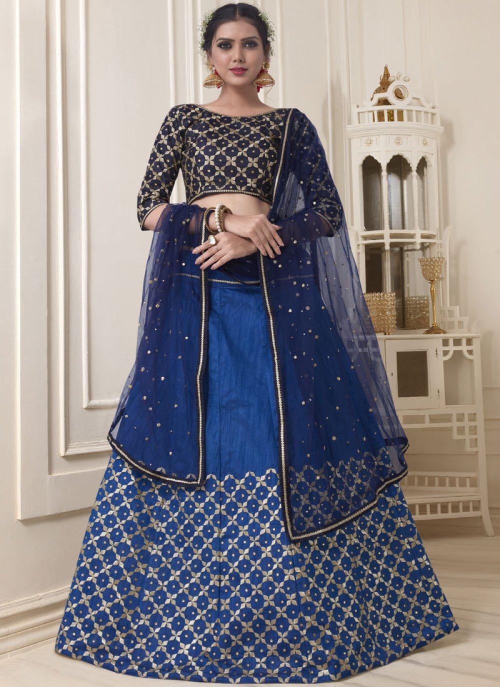 Resham Banglori Silk Blue Lehenga Choli