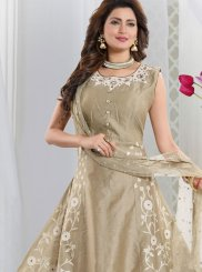 Resham Beige Art Silk Readymade Suit