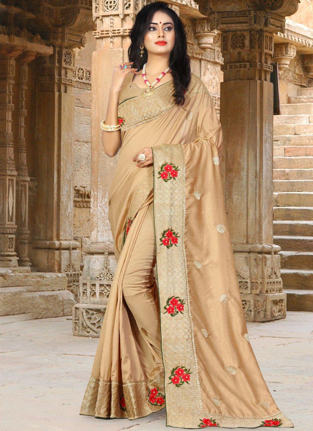 Resham Beige Art Silk Traditional Saree
