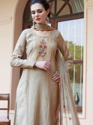 Resham Beige Fancy Fabric Designer Pakistani Suit
