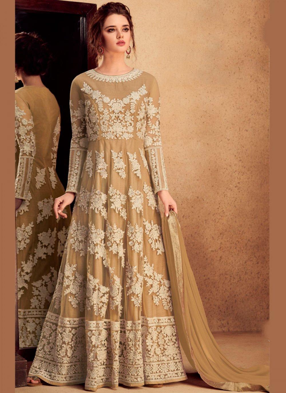 Resham Beige Floor Length Anarkali Suit