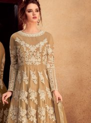 Resham Beige Floor Length Anarkali Suit