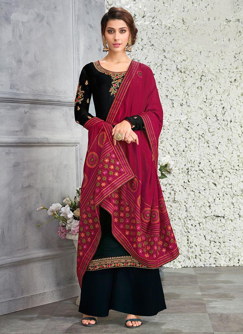 Resham Black Faux Georgette Designer Pakistani Suit