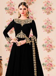 Resham Black Floor Length Anarkali Suit