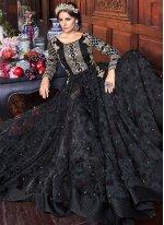 Resham Black Floor Length Anarkali Suit