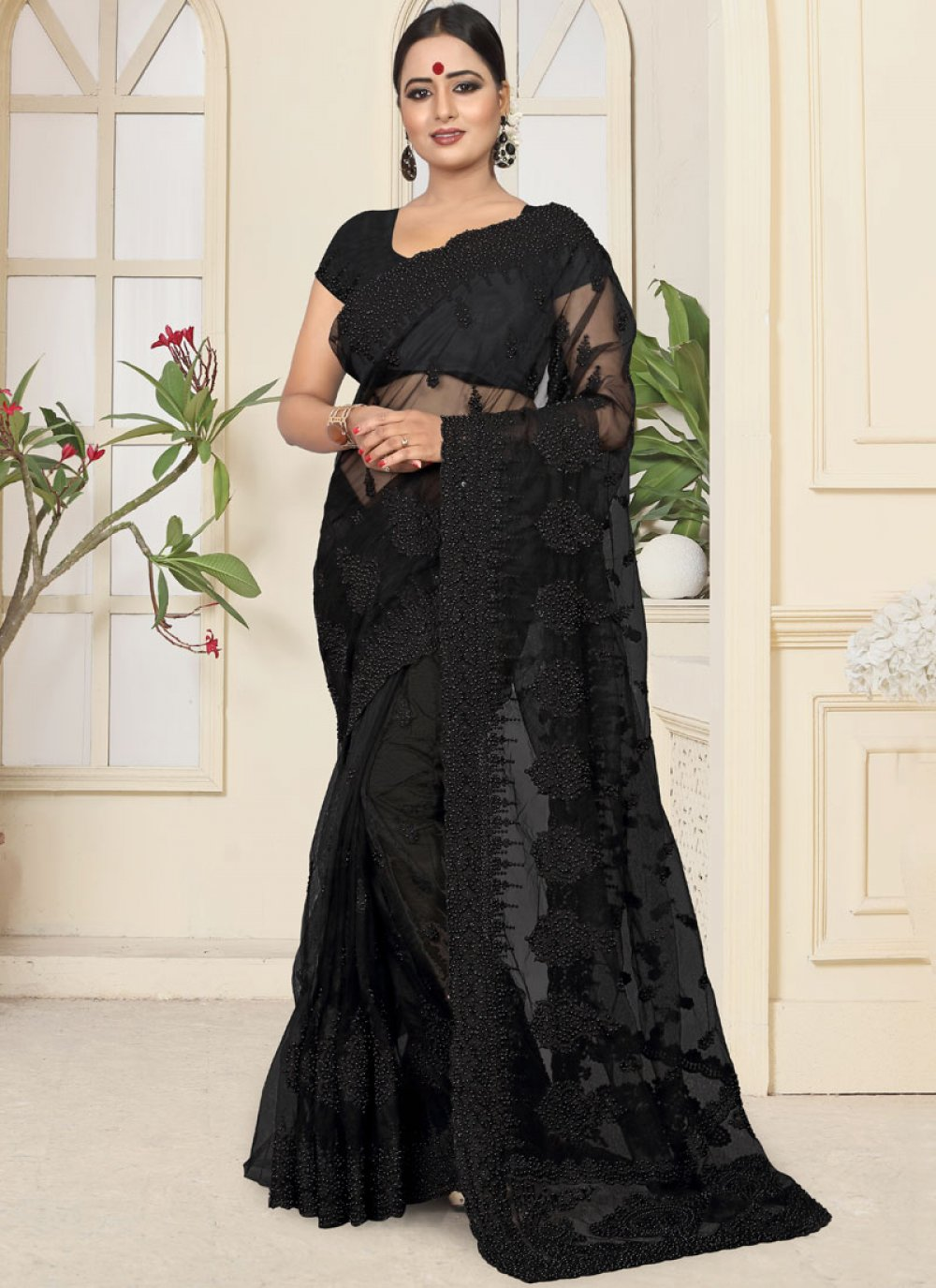 Resham Black Net Classic Designer Saree