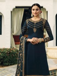 Resham Blue Designer Pakistani Suit