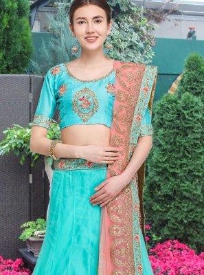 Resham Blue Net Lehenga Choli