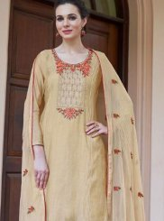 Resham Cream Fancy Fabric Designer Pakistani Suit