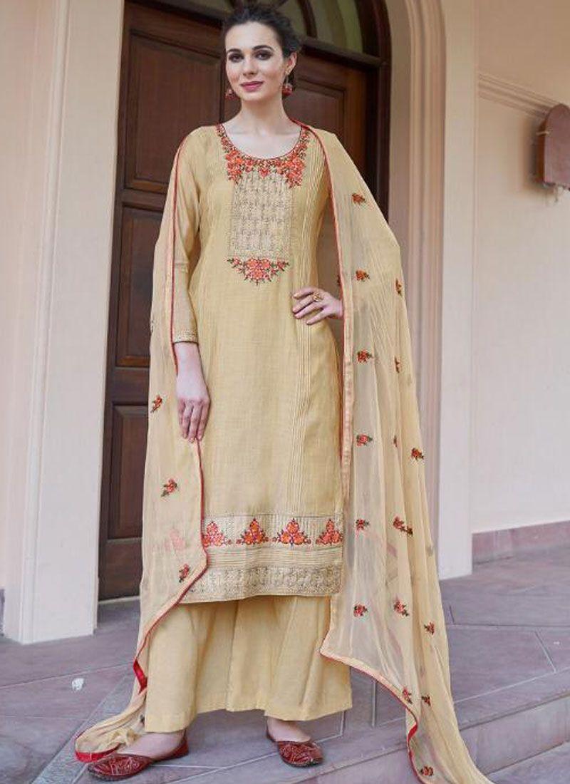 Resham Cream Fancy Fabric Designer Pakistani Suit