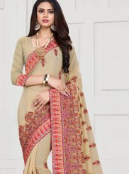Resham Cream Trendy Saree