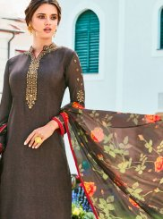 Resham Crepe Silk Grey Churidar Designer Suit