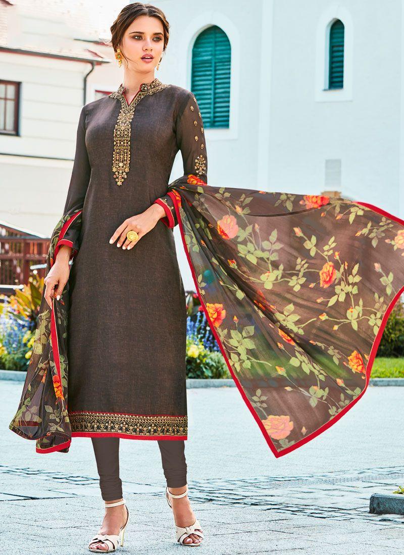 Resham Crepe Silk Grey Churidar Designer Suit