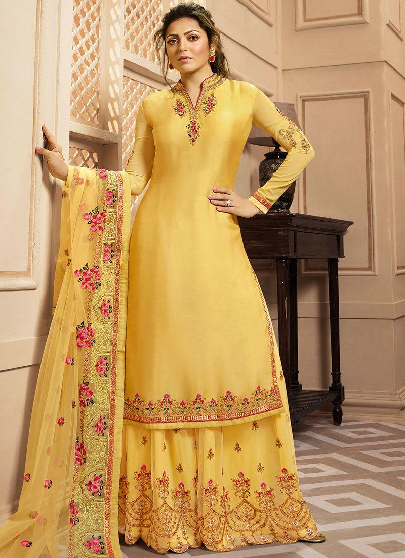 Resham Drashti Dhami Georgette Satin Designer Palazzo Suit