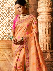Resham Fancy Fabric Peach Classic Saree