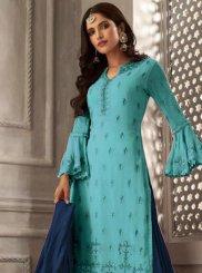 Resham Faux Georgette Blue Designer Palazzo Suit
