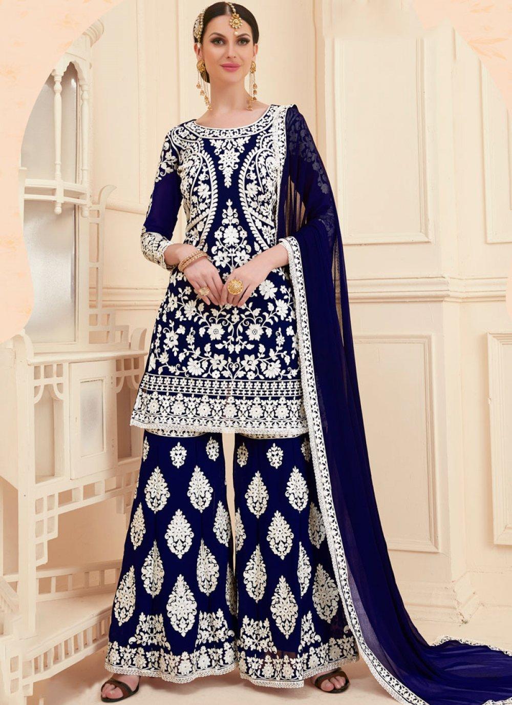 Resham Faux Georgette Designer Pakistani Suit in Blue