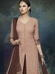 Resham Faux Georgette Designer Palazzo Suit in Brown