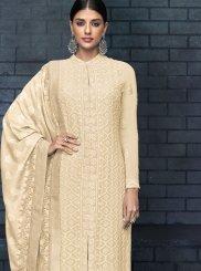 Resham Faux Georgette Designer Salwar Kameez in Cream