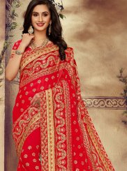 Resham Faux Georgette Red Classic Saree