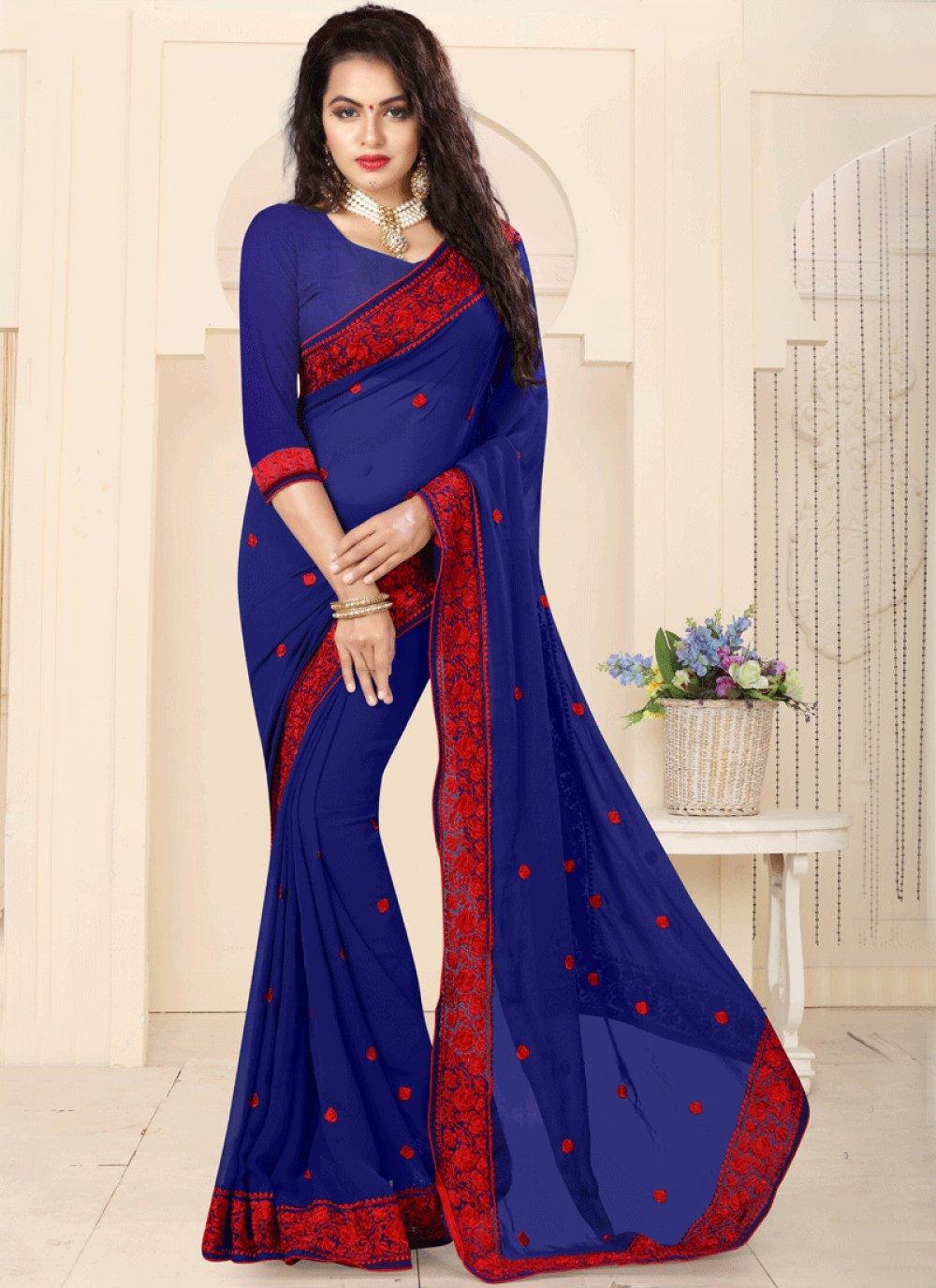 Resham Faux Georgette Saree in Blue