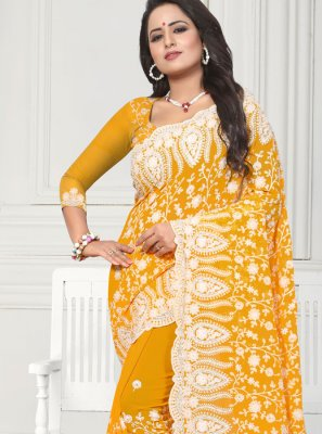 Resham Faux Georgette Trendy Saree in Yellow