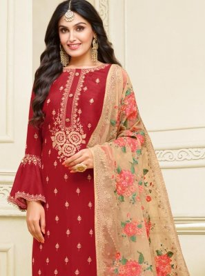 Resham Georgette Satin Churidar Designer Suit in Red
