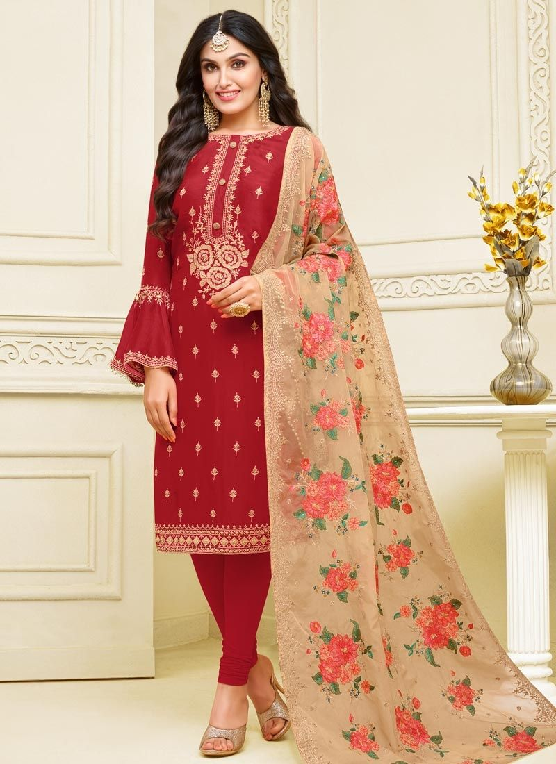 Resham Georgette Satin Churidar Designer Suit in Red