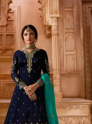 Resham Georgette Satin Designer Pakistani Suit in Blue