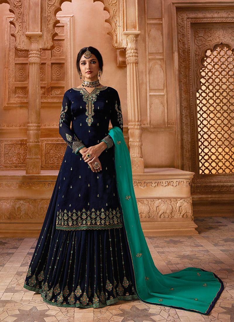 Resham Georgette Satin Designer Pakistani Suit in Blue