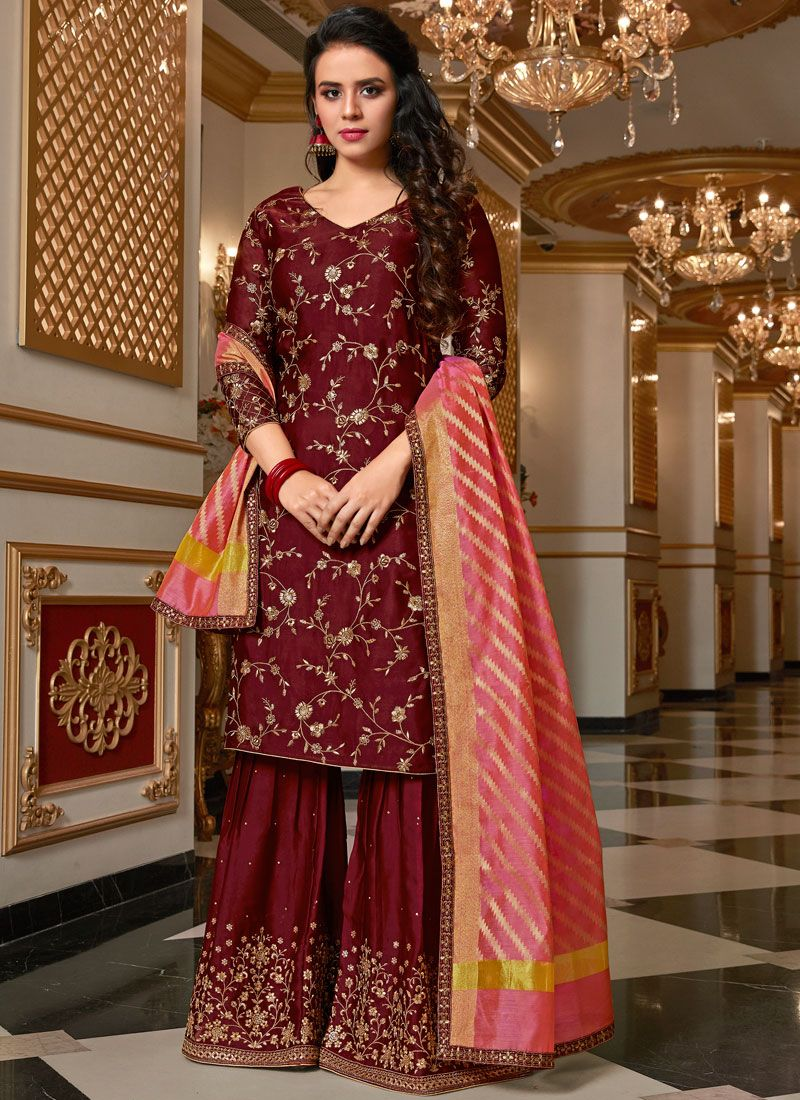 Resham Georgette Satin Designer Pakistani Suit in Maroon