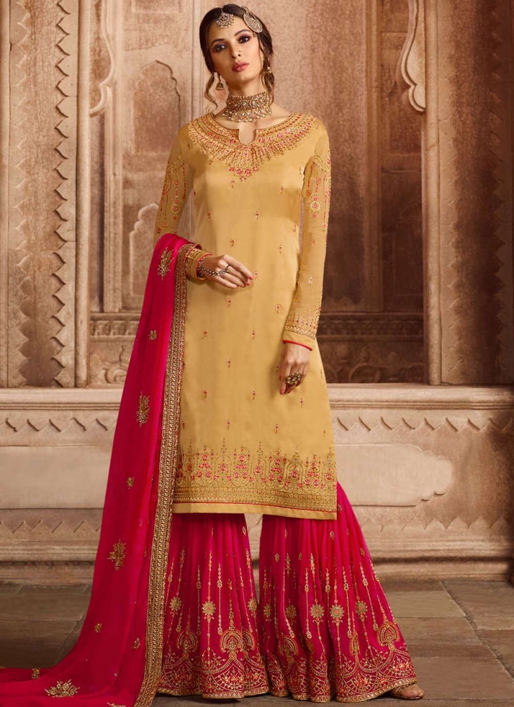 Resham Georgette Satin Designer Pakistani Suit in Yellow
