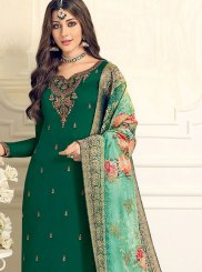 Resham Green Designer Straight Suit