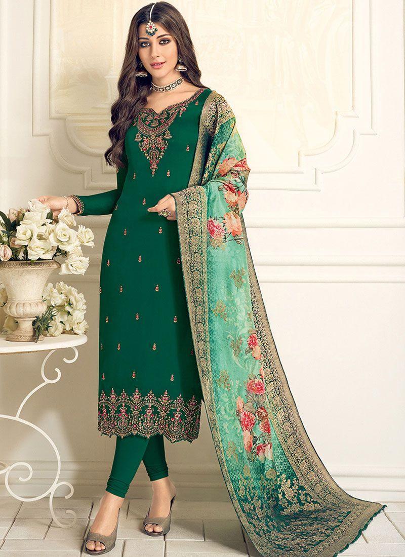 Resham Green Designer Straight Suit