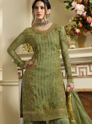 Resham Green Satin Designer Pakistani Suit