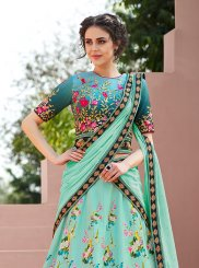 Resham Green Satin Silk Lehenga Choli