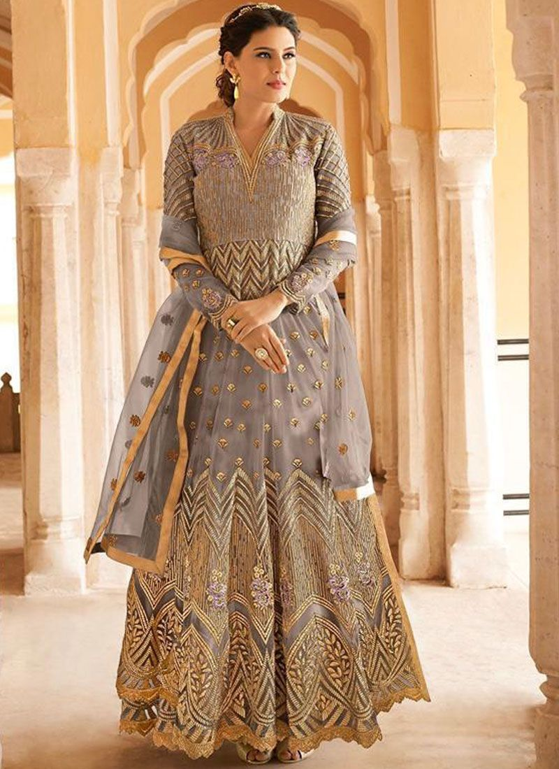 Resham Grey Floor Length Anarkali Suit